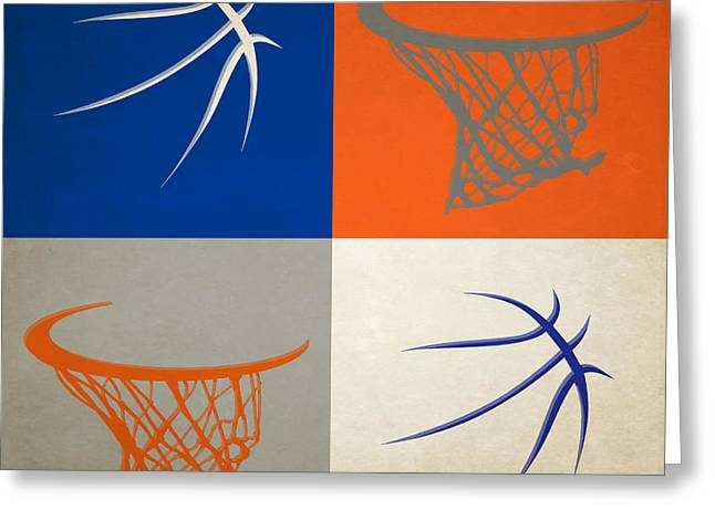 Knicks Ball And Hoop Greeting Card by Joe Hamilton