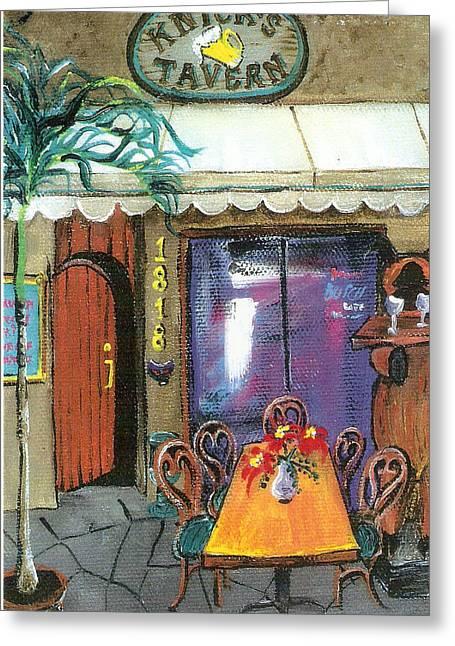Knicks Tavern Greeting Card by Lyla Mitchell