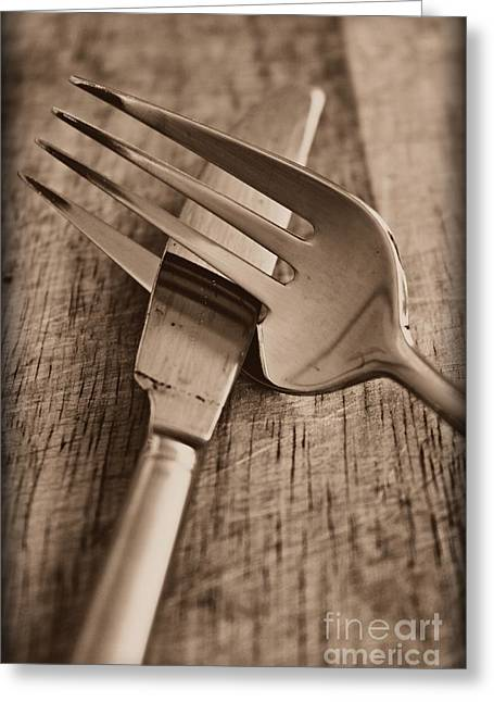 Knife And Fork Greeting Card by Clare Bevan