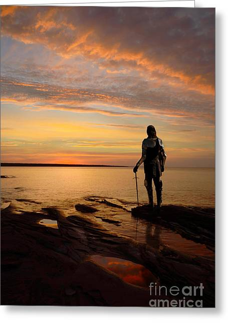 Knight At Sunrise Greeting Card