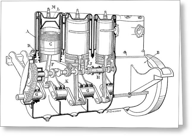 Knight Car Engine Greeting Card by Science Photo Library