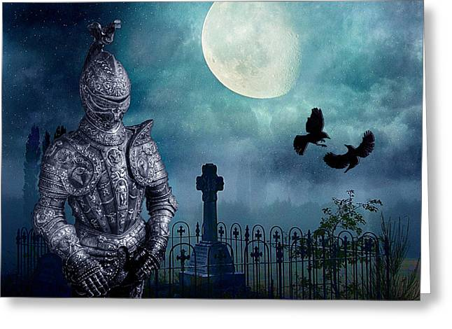 Knight In The Cemetery Greeting Card