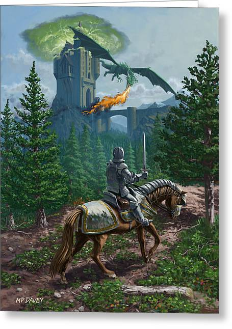 Knight On Horseback Approaching Dragon Guarded Castle Greeting Card by Martin Davey