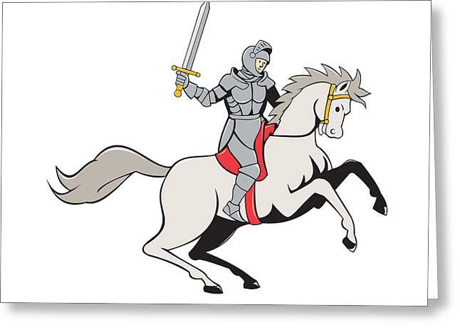 Knight Riding Horse Sword Cartoon Greeting Card by Aloysius Patrimonio