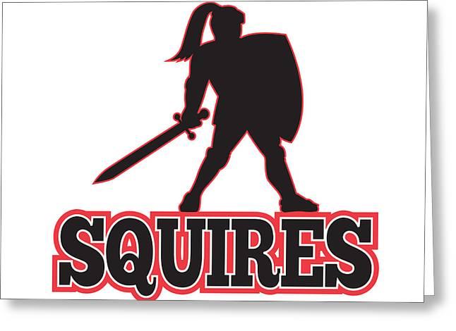 Knight Silhouette Squires Sword Shield Cartoon Greeting Card by Aloysius Patrimonio