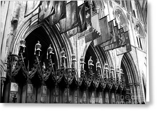 Knights Of St Patrick 2 Bw Greeting Card by Mel Steinhauer