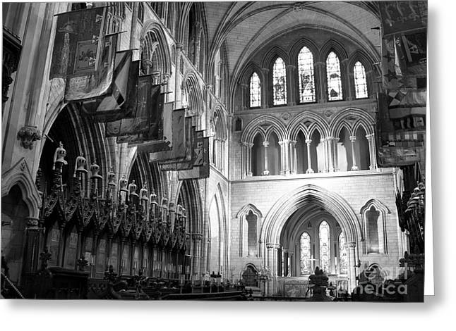 Knights Of St Patrick Bw Greeting Card by Mel Steinhauer