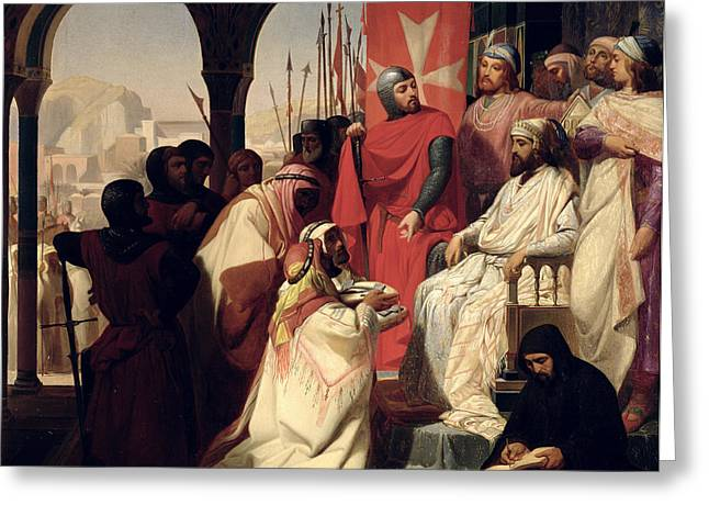 Knights Of The Order Of St John Of Jerusalem Restoring Religion In Armenia Greeting Card by Henri Delaborde