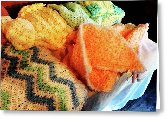 Crocheting Greeting Cards - Knitting For Baby Greeting Card by Susan Savad