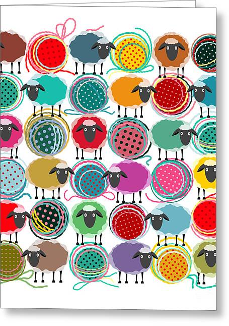 Knitting Yarn Balls And Sheep Abstract Greeting Card