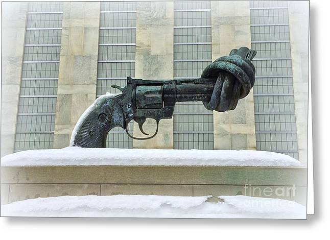 Knotted Gun Sculpture At The United Nations Greeting Card