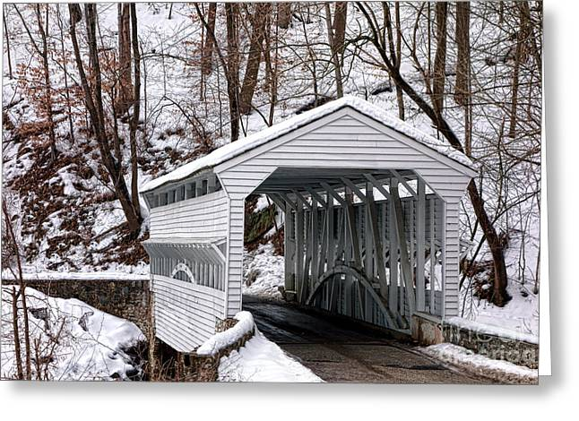 Knox Covered Bridge Greeting Card by Olivier Le Queinec
