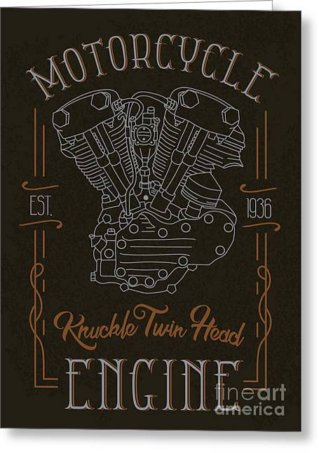Knuckle Twin Head Motorcycle Engine Greeting Card