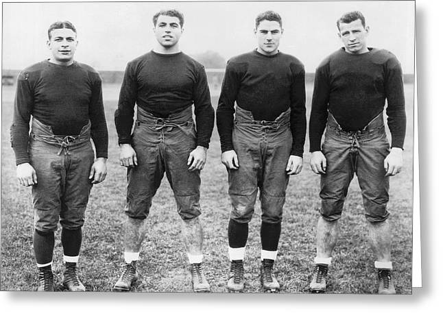 Knute Rockne's Backfield Greeting Card by Underwood Archives