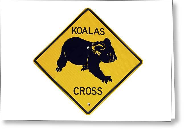 Koala Crossing Warning Sign, Australia Greeting Card