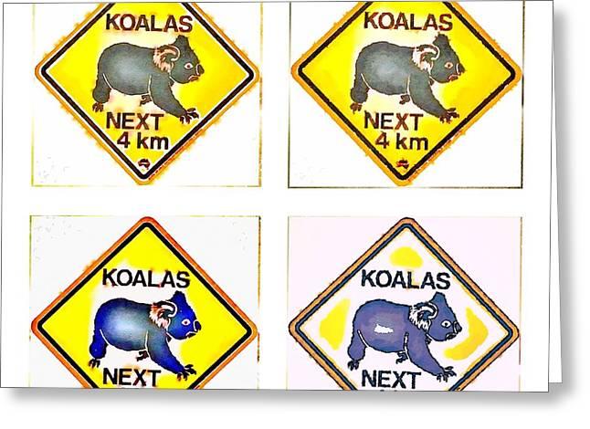 Koalas Road Sign Pop Art Greeting Card