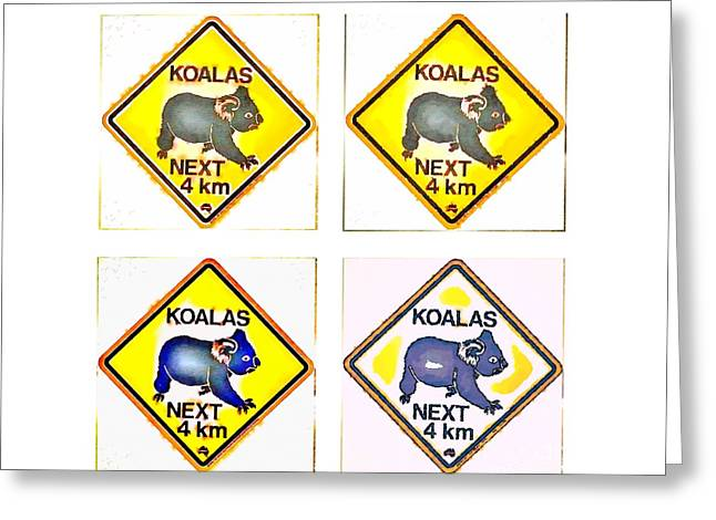 Koalas Road Sign Pop Art Greeting Card