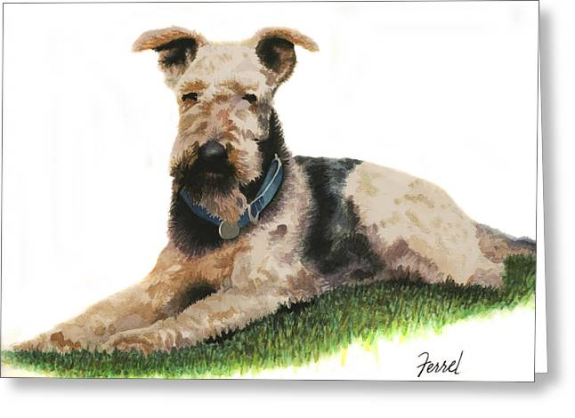 Greeting Card featuring the painting Kobe Airedale Terrier by Ferrel Cordle