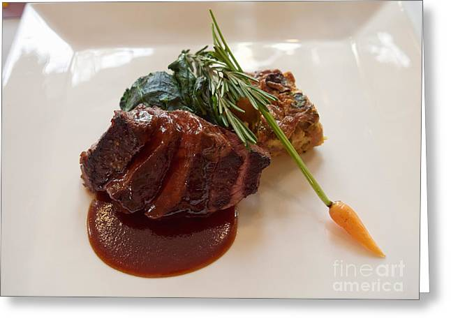 Kobe Beef With Spring Spinach And A Wild Mushroom Bread Pudding Greeting Card by Louise Heusinkveld