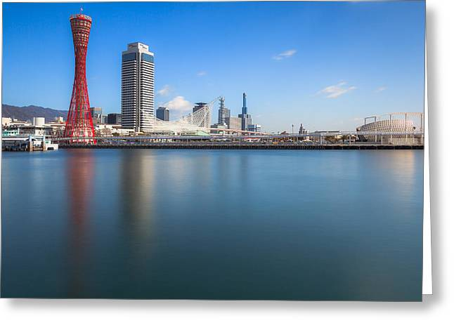 Kobe Port Island Tower Greeting Card by Hayato Matsumoto