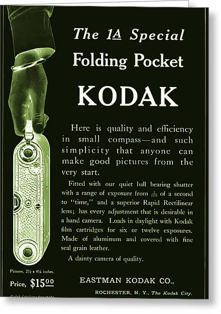 Kodak 1a Folding Pocket Camera Ad Greeting Card by Jennifer Rondinelli Reilly - Fine Art Photography