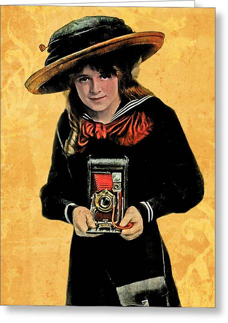 Kodak Girl And Folding Camera With Red Bellows Greeting Card by Jennifer Rondinelli Reilly - Fine Art Photography
