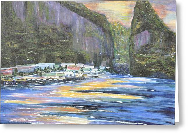 Greeting Card featuring the painting Koh Panyee Island by Dottie Branchreeves