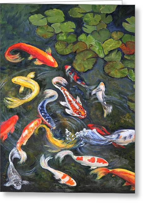 Greeting Card featuring the painting Koi Among The Lily Pads by Sandra Nardone