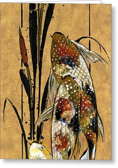 Koi And Cattails Greeting Card