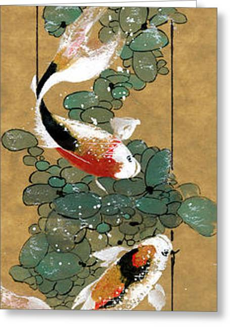 Koi And River Stones Greeting Card