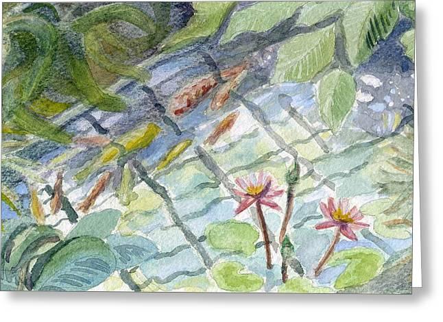 Koi Carp And Waterlilies. Greeting Card