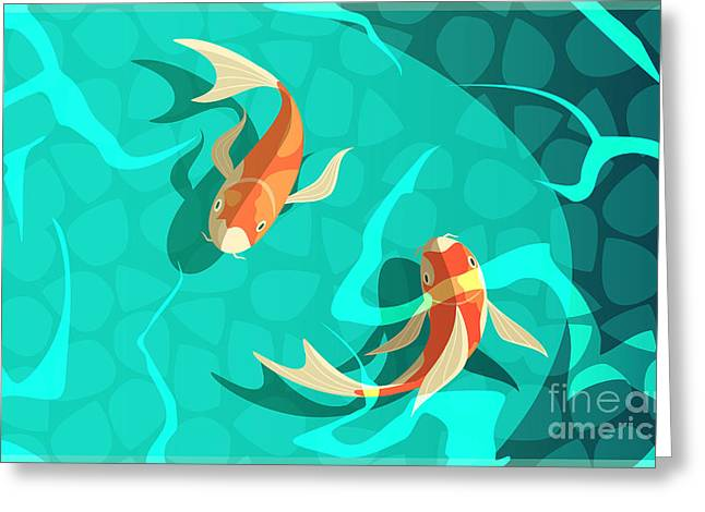 Koi Carp Japanese  Symbol Of Luck Greeting Card
