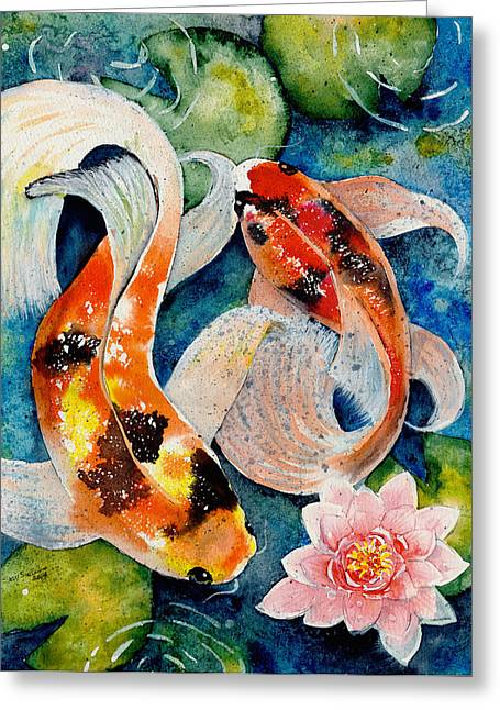 Koi Dance Greeting Card by Susy Soulies