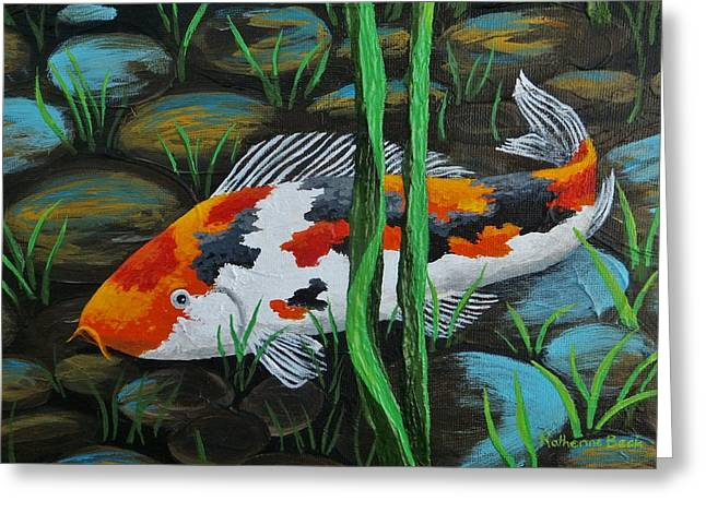 Koi Fish Greeting Card by Katherine Young-Beck