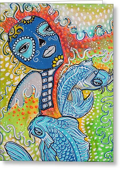 Koi Fish Sugar Skull Greeting Card by Laura Barbosa