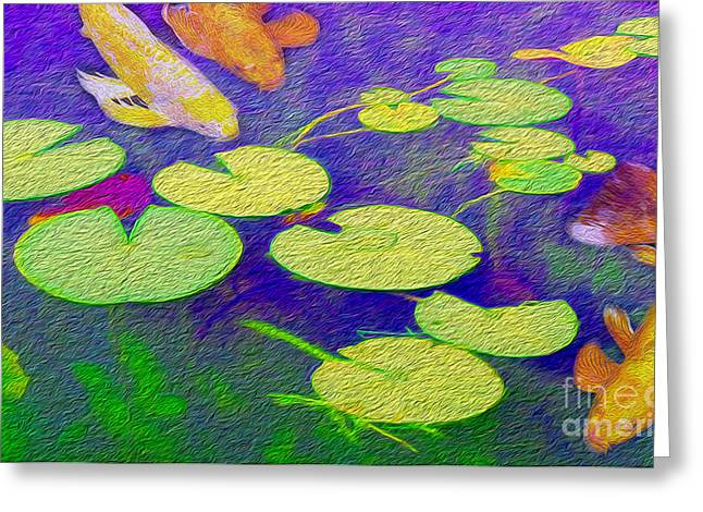 Koi Fish Under The Lilly Pads  Greeting Card