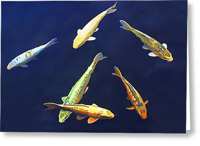 Koi Floating In Blue Greeting Card by Wernher Krutein