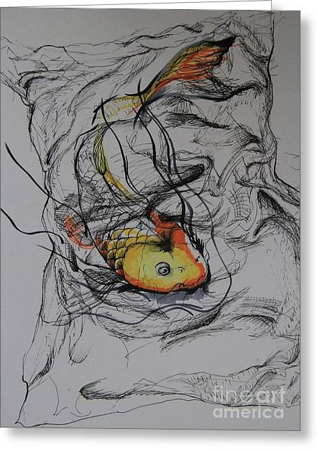 Koi In My Pillow Greeting Card