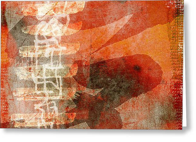 Koi In Orange Greeting Card by Carol Leigh