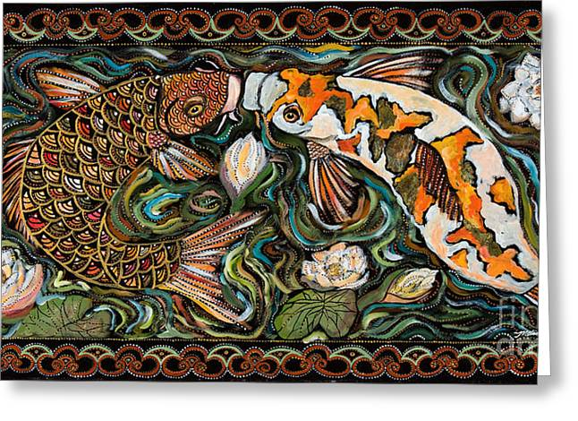 Koi Kissing Greeting Card by Melissa Cole