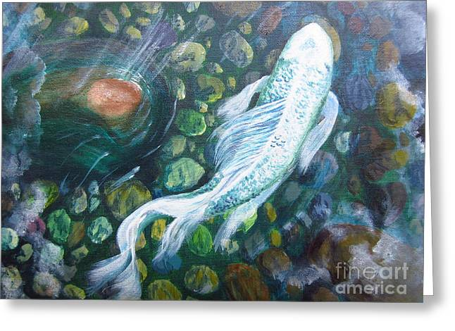 Koi Greeting Card by Laurianna Taylor
