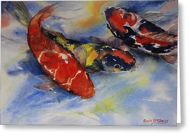 Koi Party Greeting Card by Enola McClincey