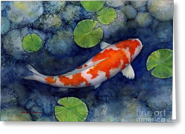 Koi Pond Greeting Card by Hailey E Herrera