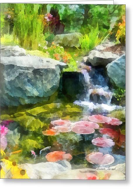 Koi Pond Greeting Card by Susan Savad