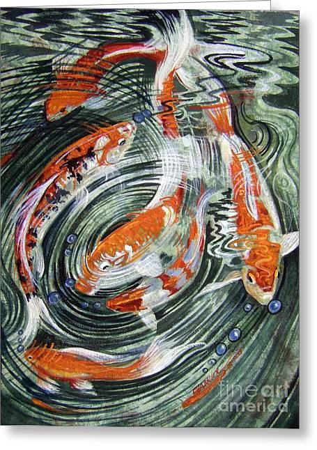 Koi Refractions Greeting Card by Anne Shoemaker-Magdaleno