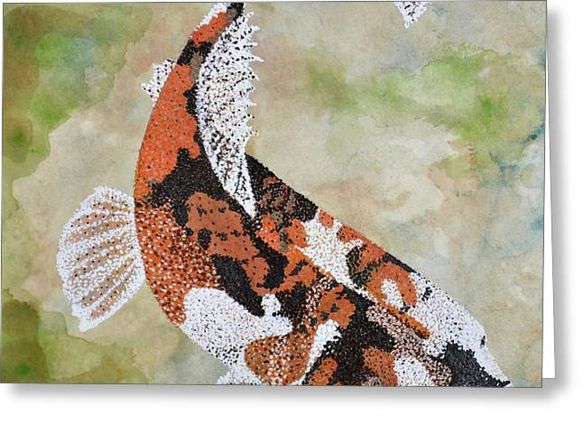 Greeting Card featuring the painting Koi by Suzette Kallen