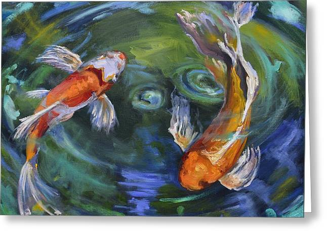 Koi Swirl Greeting Card by Donna Tuten