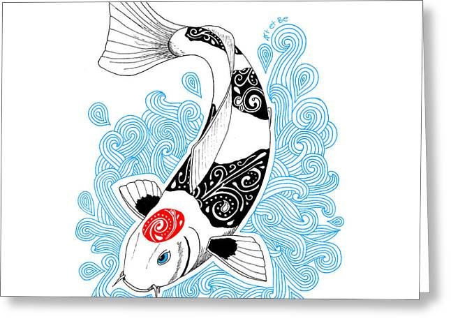 Koi Tancho Greeting Card by Art Et Be