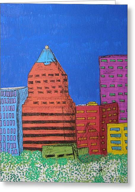 Koin Downtown Greeting Card by Marcia Weller-Wenbert