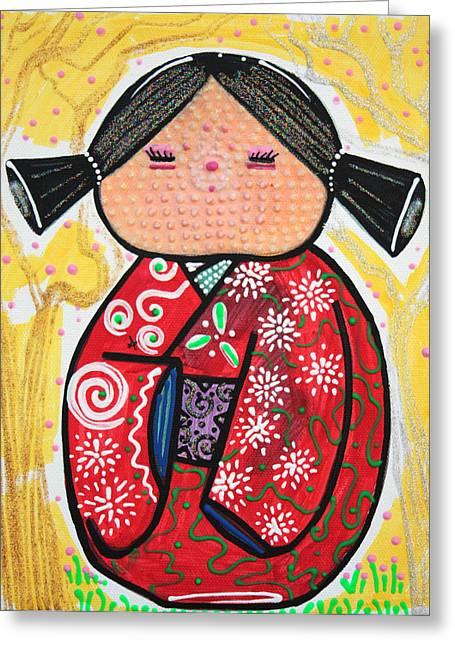 Kokeshi Greeting Card by Laura Barbosa